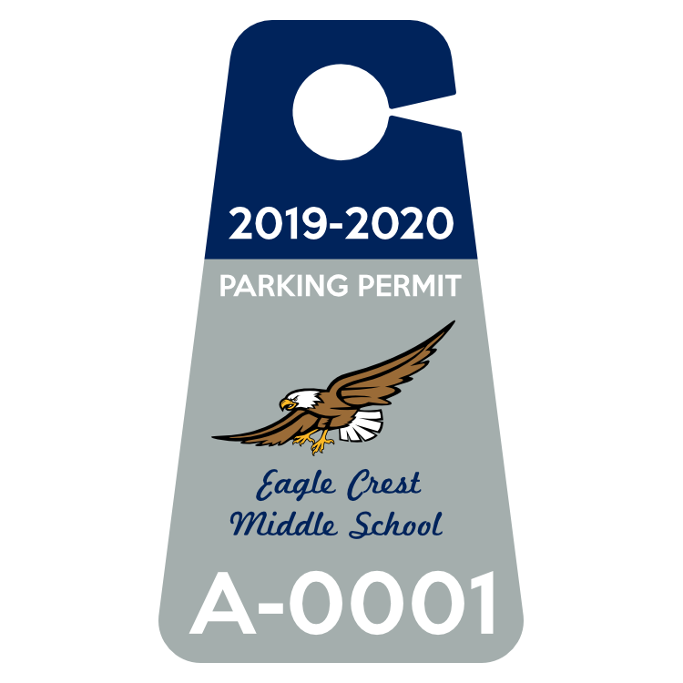 2 Color Middle School Parking Permit Hang Tag