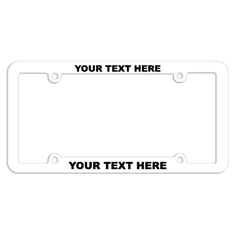 Customizable Thin Top-Medium Bottom White License Plate Frame