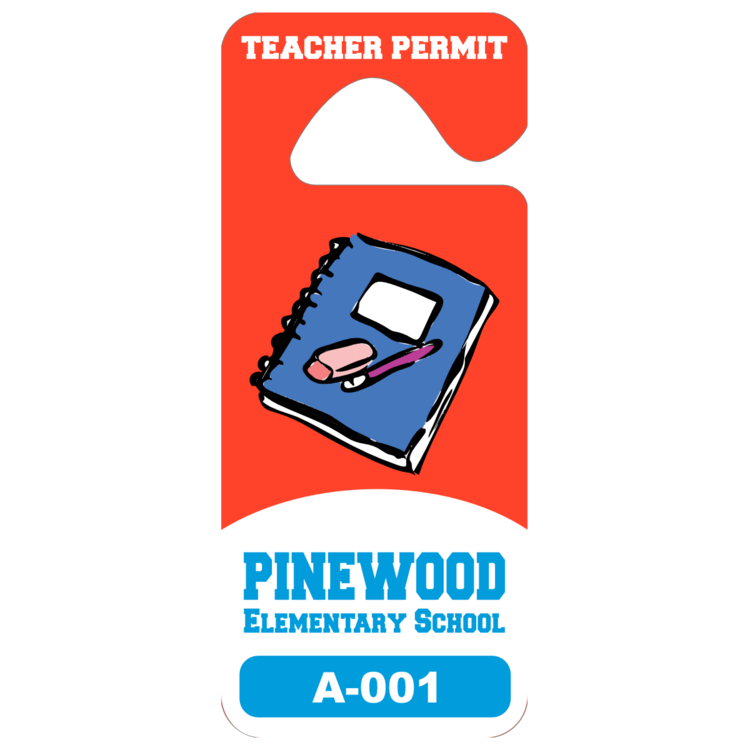 Tall Rectangular School Hang Tag Parking Permit