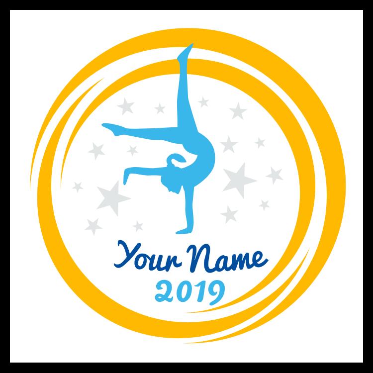 Custom Handstand Gymnast Swoosh Circle Sticker