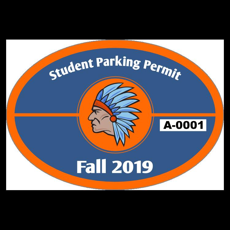 Split Oval School Parking Permit Sticker