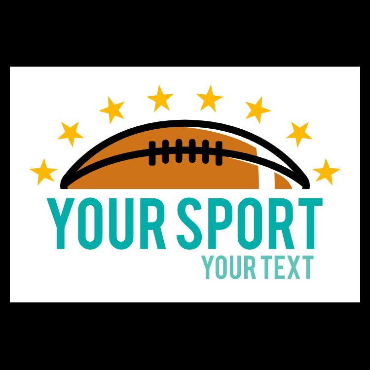 Custom Football with Line of Stars Sticker