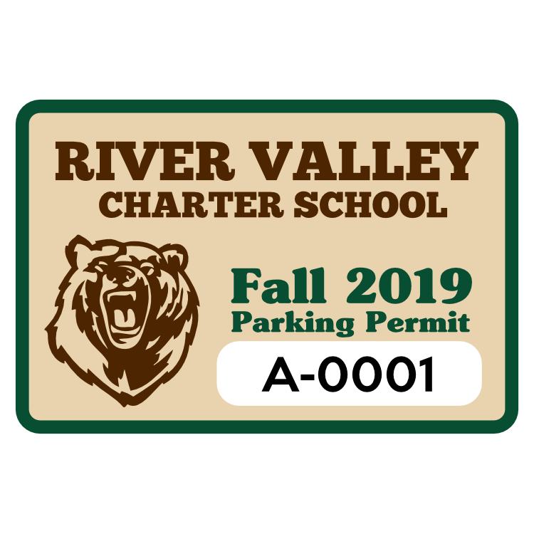 School Mascot Rectangle Parking Permit Sticker