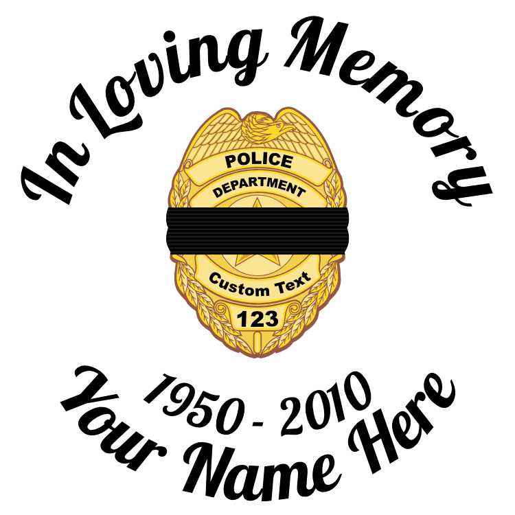 In Loving Memory Police Badge with Black Band Sticker