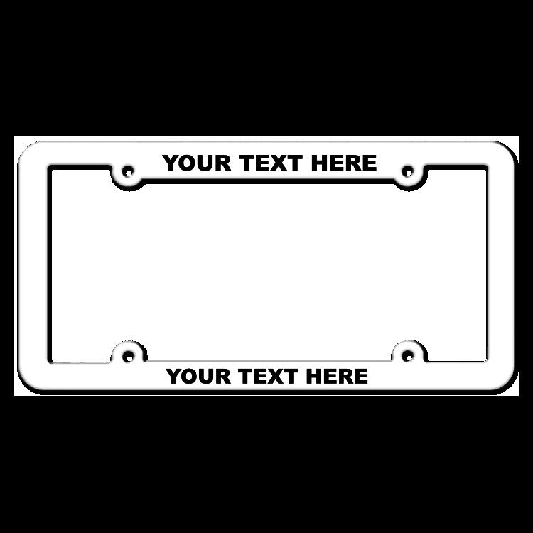 Customizable Inverted Thin Top-Medium Bottom White License Plate Frame