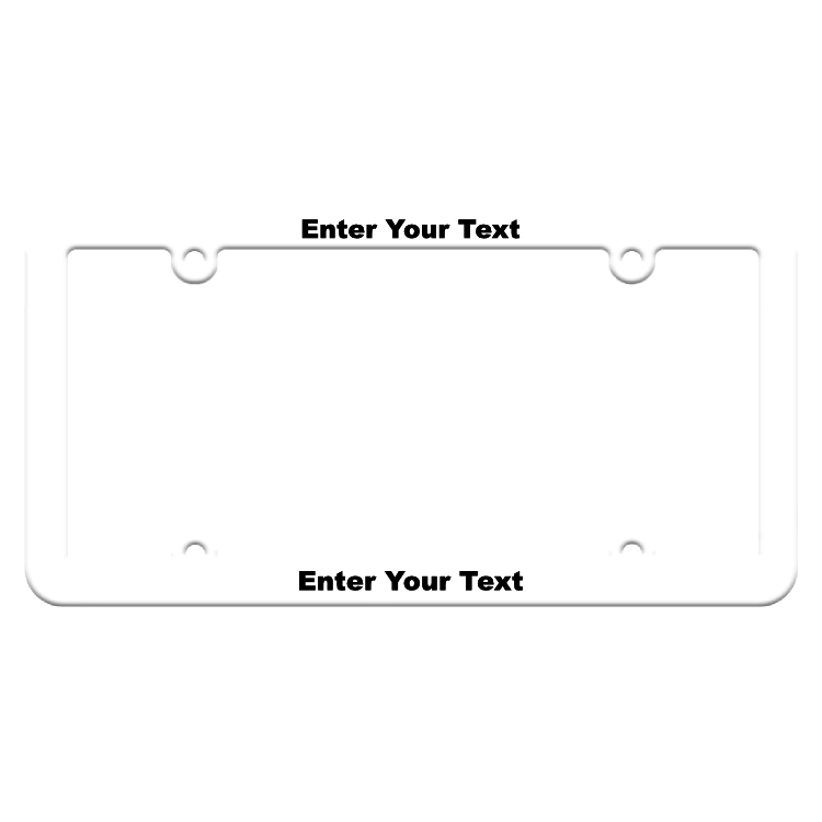 Customizable Thin White License Plate Frame