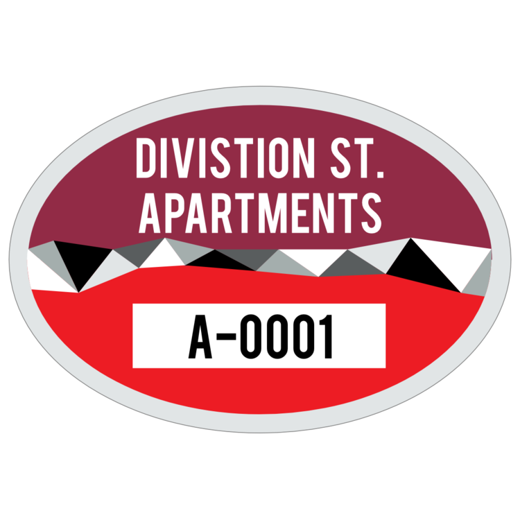 Divided Oval Apartment Parking Permit Sticker