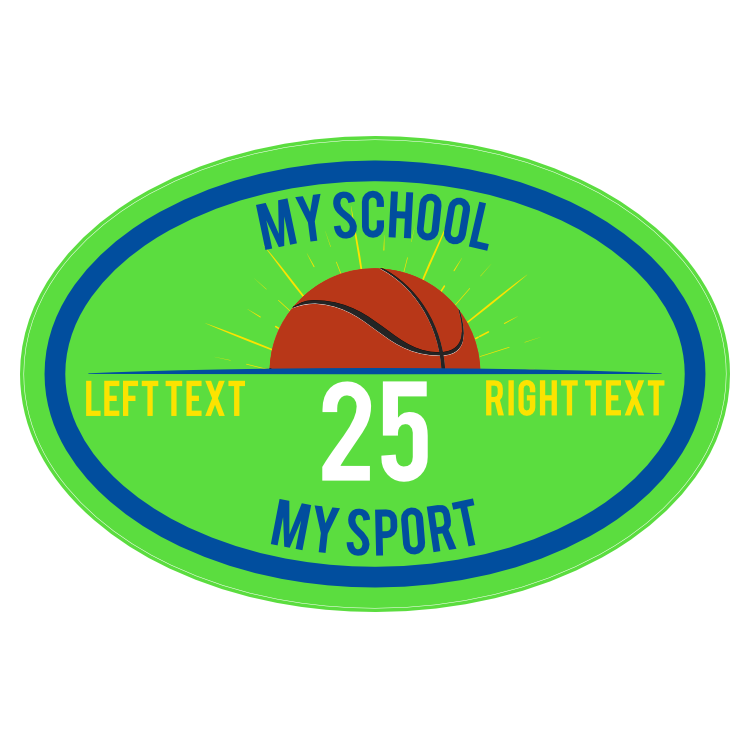 Custom Printed Burst Basketball Oval Sticker