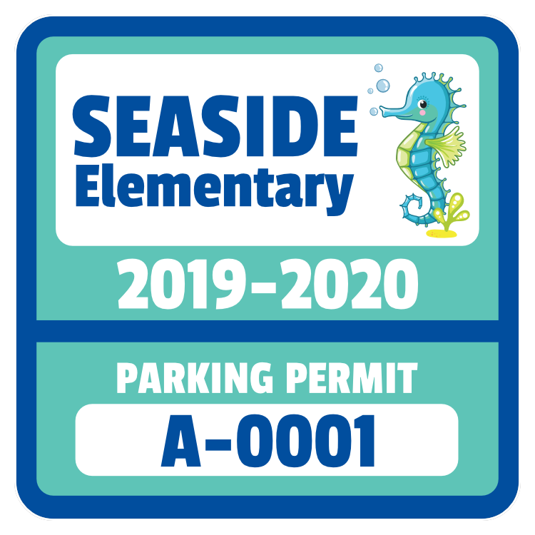 Colorful Elementary School Square Parking Permit Sticker
