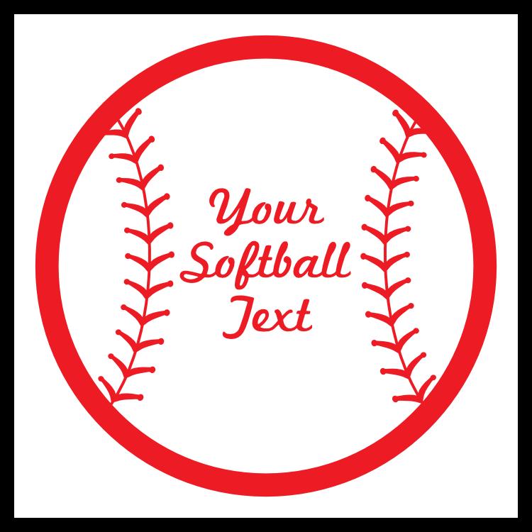 Custom Softball sticker with Seams and Text