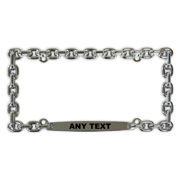 Chain Link Chrome License Plate Frame Customized