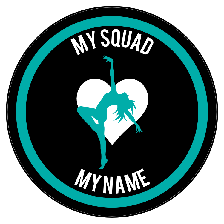 Custom Arched Back Dancer with Heart Circle Sticker