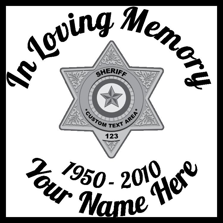 In Loving Memory Sticker Silver Sheriff Badge