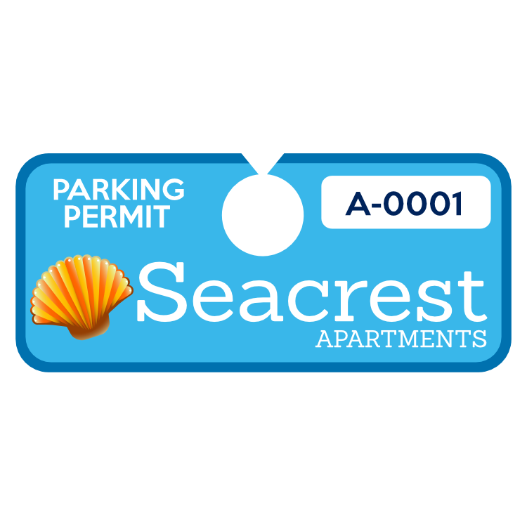 Horizontal Apartment Complex Hang Tag Parking Permit