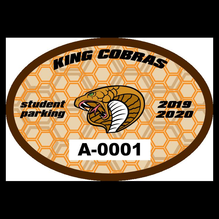 Double Hexagon Oval School Parking Permit Sticker