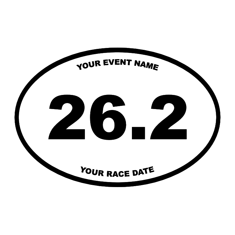 Custom Marathon Oval Sticker with Your Text