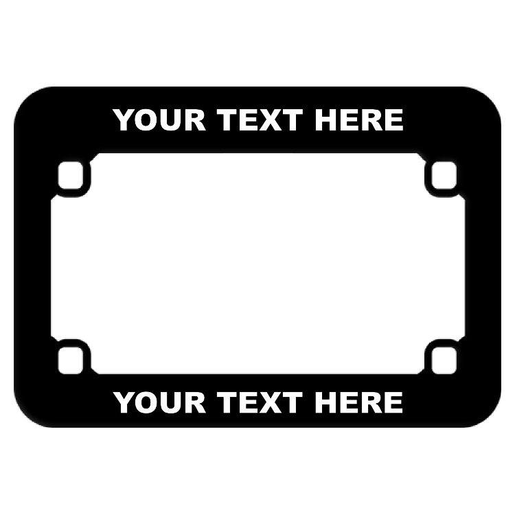 Customizable Black Plastic Motorcycle License Plate Frame