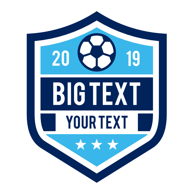 Custom Shield for Soccer with Big Text