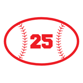 Custom Oval Baseball Sticker with your Number