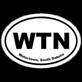 Watertown, South Dakota Oval Stickers