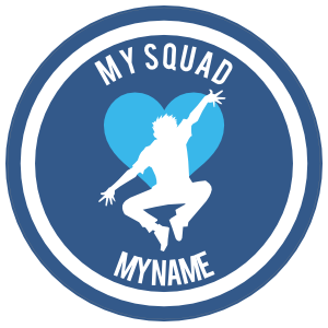 Custom Jumping Dancer with Heart Circle Sticker