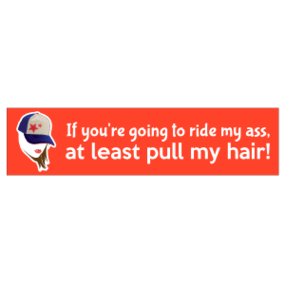 If you're going to ride my ass, at least pull my hair! Bumper Sticker