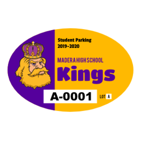 Big Mascot School Oval Parking Permit Sticker