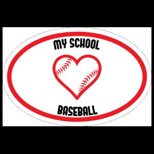 Custom Love Baseball Oval Sticker