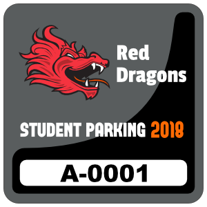 Curved Two Color Square School Parking Permit Sticker