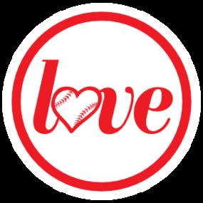 Custom Love Baseball or Softball Circle Sticker
