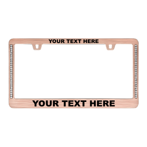 Custom Diamond Neo Rose Gold License Plate Frame