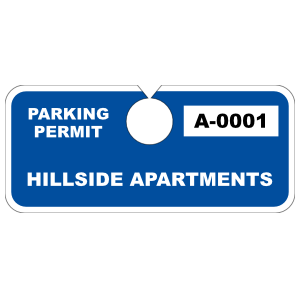 Custom Horizontal Hang Tag Parking Permit