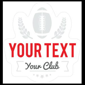 Custom Die Cut Football Sticker with Text