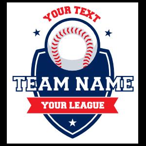 Custom Baseball Shield Sticker with Text