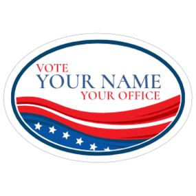 Custom Stars and Stripes Campaign Oval Sticker