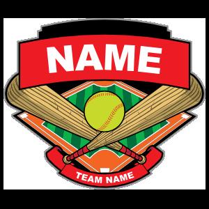 Softball Bats Ball & Diamond Sticker