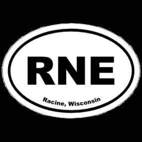 Racine, Wisconsin Oval Stickers