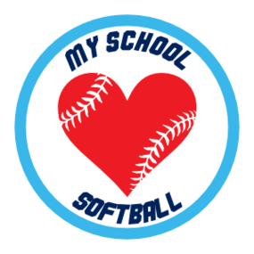 Custom Softball Sticker with Heart Seams and text