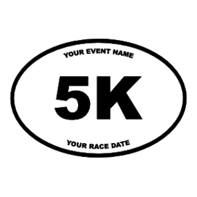 Custom 5K Oval Sticker with Your Text