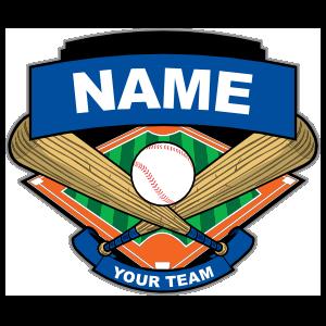 Blue Baseball Bats Ball & Diamond Sticker