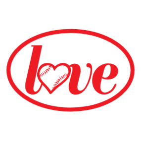 Custom Love Baseball or Softball Oval Sticker
