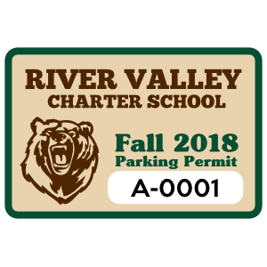School Mascot Rectangle Parking Permit Sticker