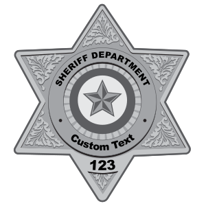 Custom Silver Sheriff Badge Magnet