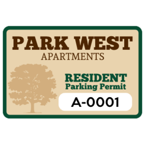 Apartment Rectangle Parking Permit Sticker