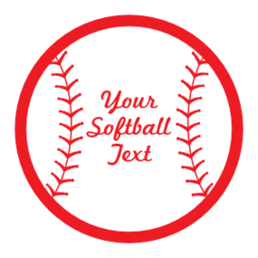 Custom Softball magnet with Seams and Text