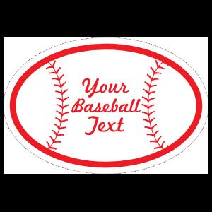 Custom Oval Baseball with Seams and Text