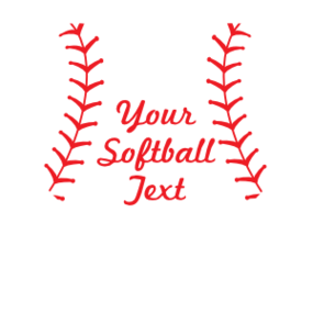 Custom Heart Softball Magnet with Text