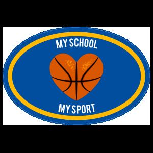 Custom Printed Basketball Heart Oval Sticker