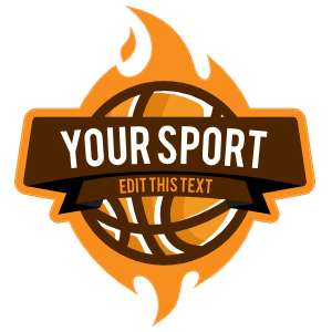 Custom Basketball Banner with Flames Sticker