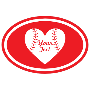 Custom Oval Sticker with Heart and Text